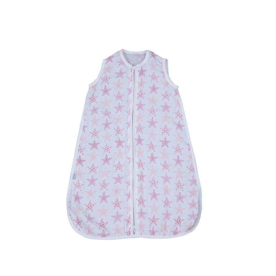 LITTLE  Gauze śpiwór gwiazdy różowy