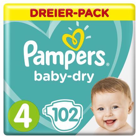 Pampers Windeln Baby Dry Gr. 4 Maxi 102 Windeln 9 bis 14 kg Dreierpack