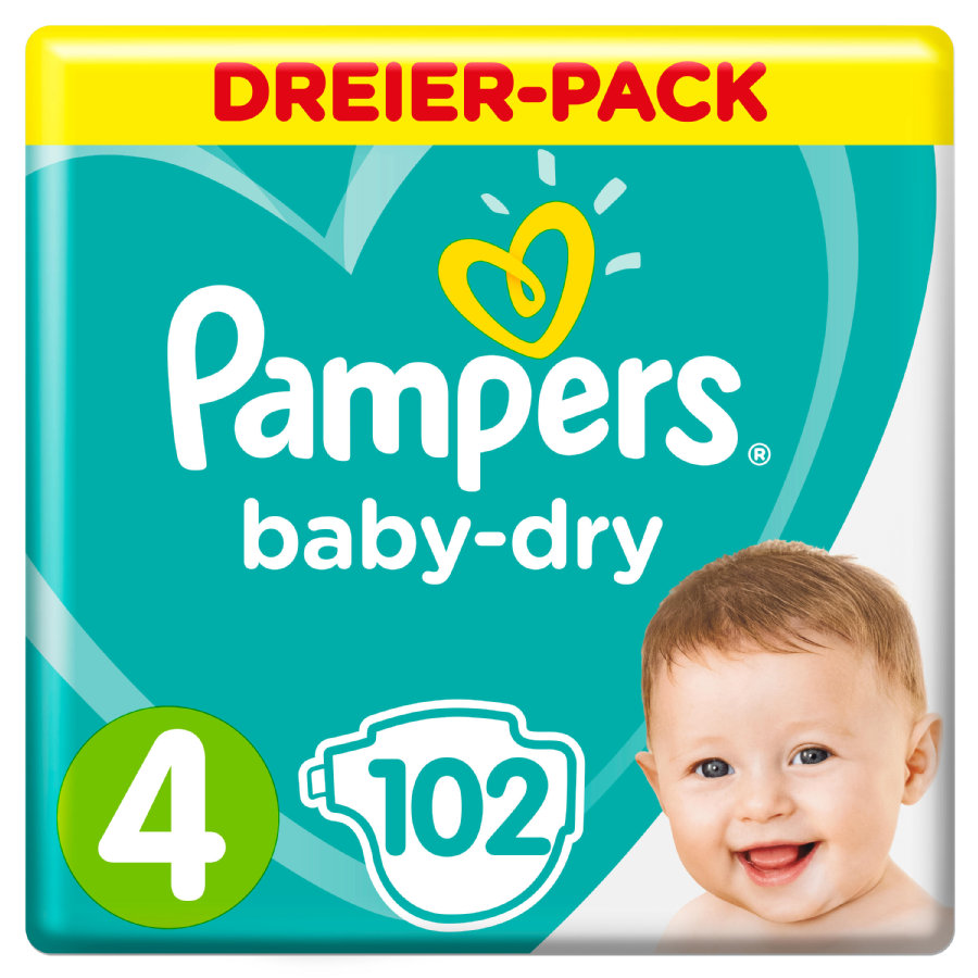 Pampers Baby Dry Taglia 4 Maxi pacco da 3 (9-14 kg)  102 pezzi