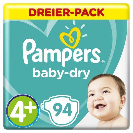 Pampers Windeln Baby Dry Gr. 4+ Maxi Plus 94 Windeln 10 bis 15 kg Dreierpack