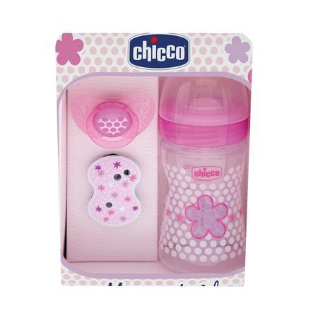 chicco Coffret naissance bébé rose 6 m+ biberon, sucette