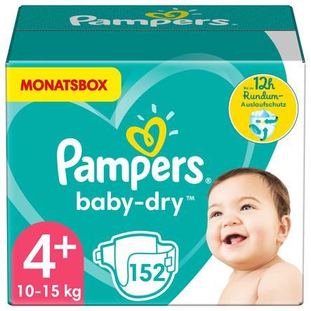 Pampers Baby-Dry Windeln, Gr. 4+, 10-15kg, Monatsbox (1 x 152 Windeln)