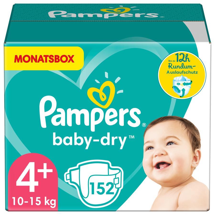 Pampers Windeln Baby Dry Gr. 4+ Maxi 152 Windeln 10 bis 15 kg Monatsbox
