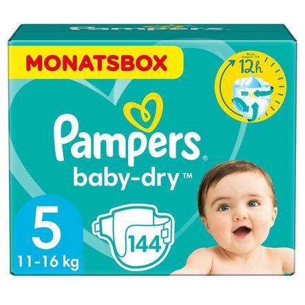 PAMPERS Pannolini Baby-Dry Taglia 5 Junior (11-16kg) - Confezione mensile da 144 pannolini