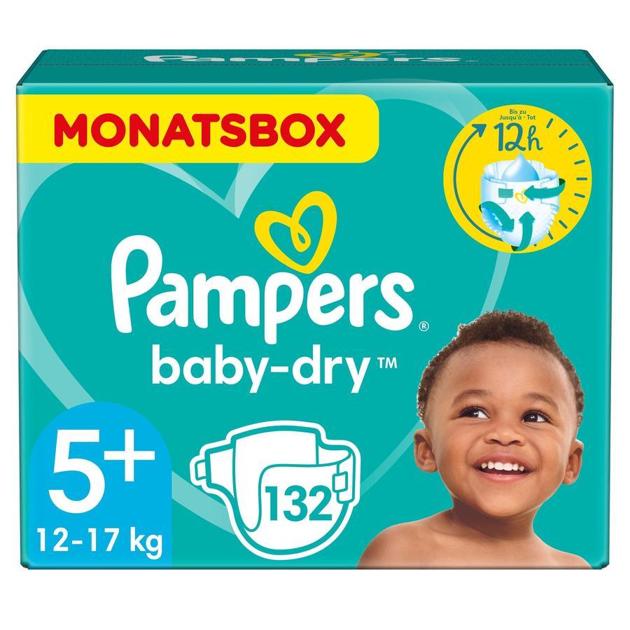 Pampers Baby Dry bleier Gr. 5+ junior 132 bleier 12 til  17 kg månedspakke