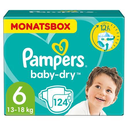 Pampers Wind eln Baby Dry Gr. 6 E xtra  Large 124 Wind eln 13 do 18 kg pudełko miesięczne