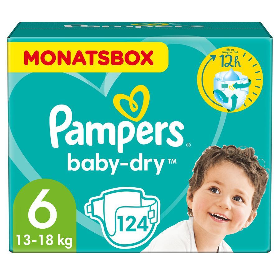 PAMPERS Pannolini Baby-Dry Taglia 6 Extra Large (16+kg) - Confezione mensile da 124 pannolini