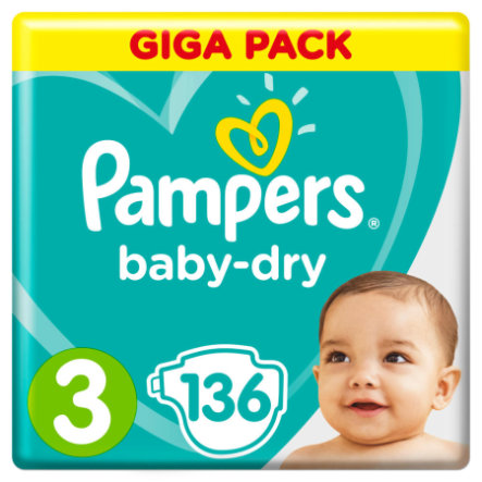 Pampers Couches Baby Dry T.3 Midi 6-10 kg pack géant 136 pcs