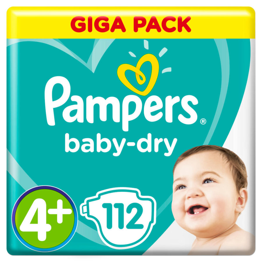 Pampers Baby Dry Gr.4+ Maxi Plus 112 Windeln 10 bis 15 kg Giga Pack