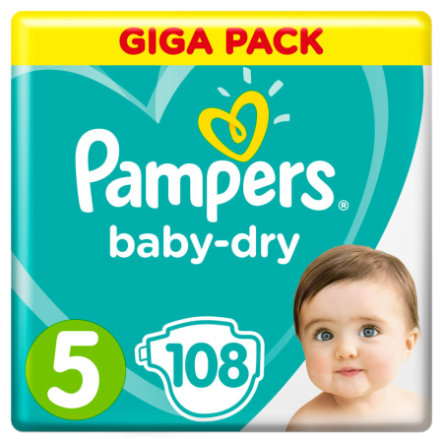 Pampers Couches Baby Dry T.5 Junior 11-16 kg pack géant 108 pcs