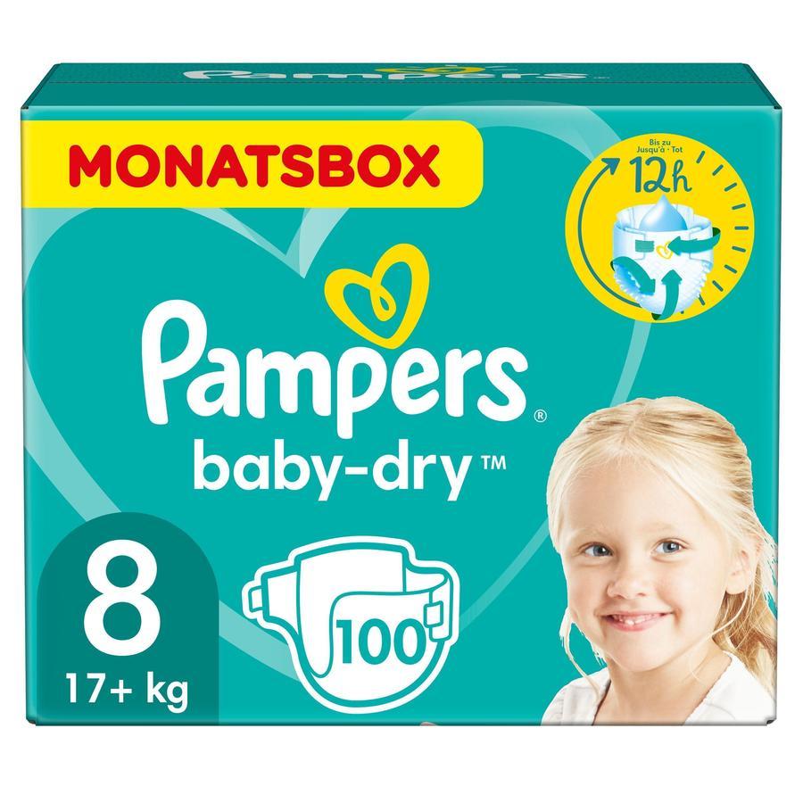 Pampers Bleer Baby Dry str. 8 Ekstra Large 100 Bleer 17+kg Månedspakke