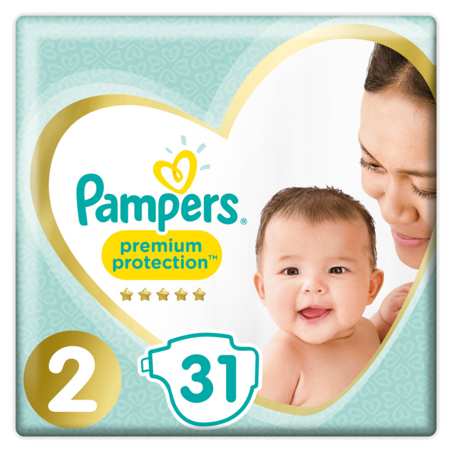 Pampers Premium Protection Gr. 2 New Baby Mini 31 Windeln 4 bis 8 kg Tragepack
