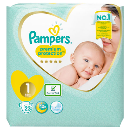Pampers Couches Premium Protection New Baby T. 1 Newborn 2-5 kg 23 pièces