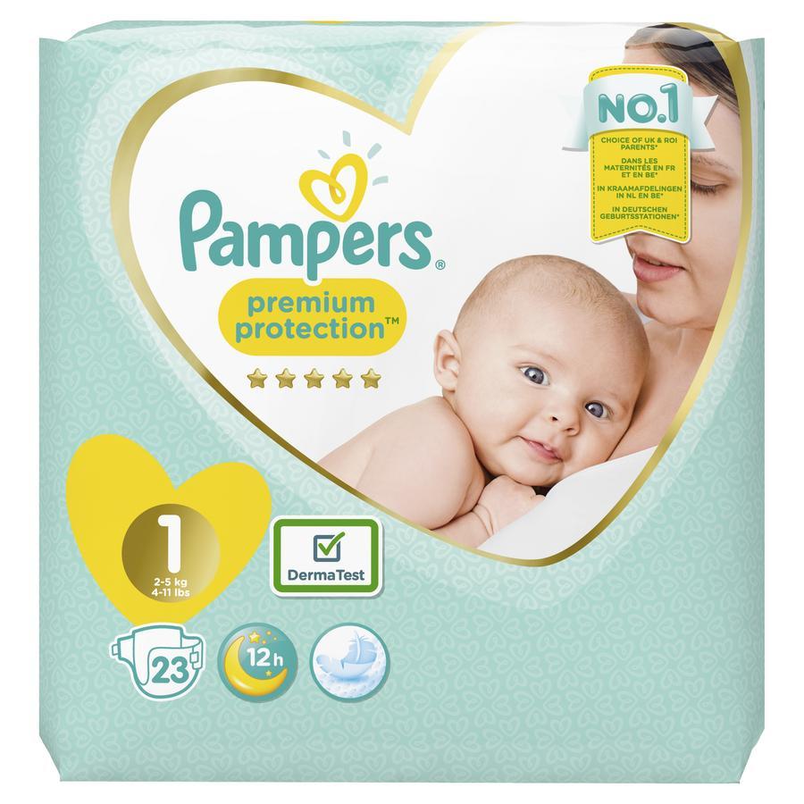 Pampers Bleer Premium Protection New Baby str.1 Newborn 2-5kg Bærepakke 22 stk.