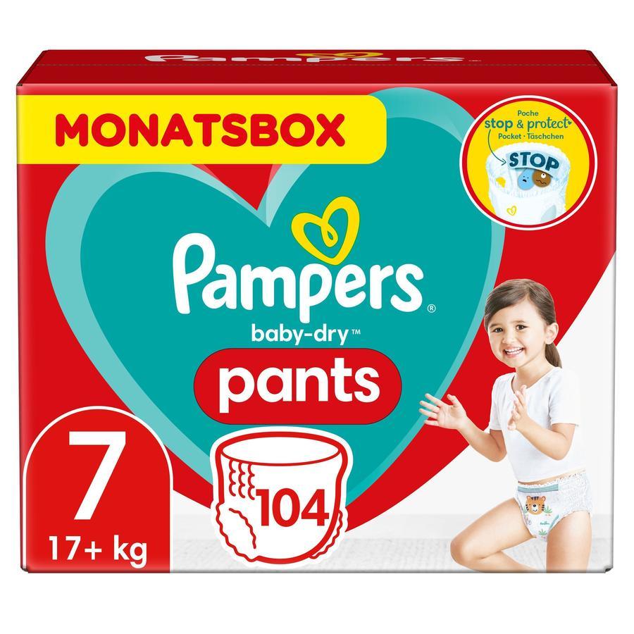 Pampers Baby-Dry Pants, velikost 7, 17+kg, měsíční balení (1 x 104 plen)