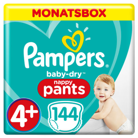 Pampers Couches culottes Baby Dry Pants T.4+ Maxi Plus 9-15 kg 144 pièces pack mensuel
