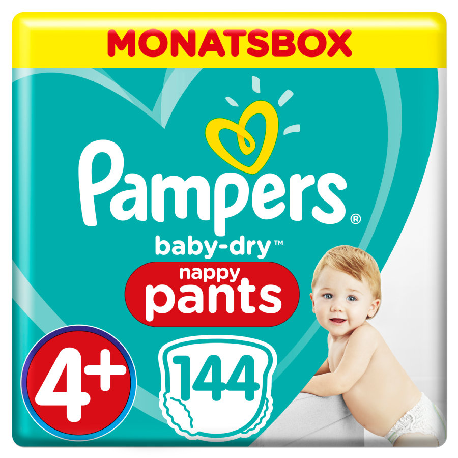 Pampers Baby-Dry Nappy Pants, Gr. 4+, 9 - 15 kg, Confezione mensile da 144 pezzi