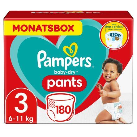 Pampers Pañales Baby Dry nappy Pants Tamaño 3 Mediano 180 Pañales 6 - 11kg Caja mensual