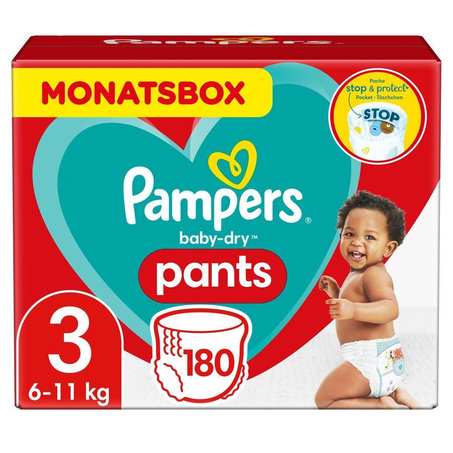 Pampers Baby tørre bleebukser Str. 3 Midi 180 bleer 6 til 11 kg Månedskasse