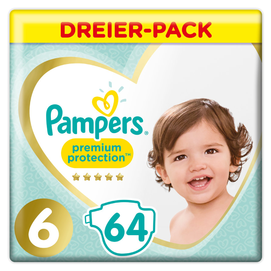 Pampers Premium Protection Gr. 6 Extra Large 64 Windeln 13 bis 18 kg Dreipack