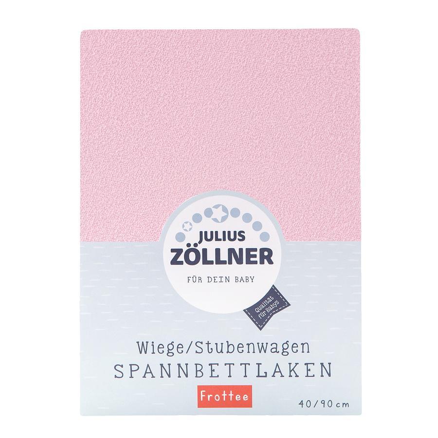 ZÖLLNER Sábana ajustable de rizo para cuna color rosa