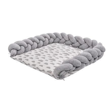 LULANDO Skiftemåtte Zopf grå / lille skygrå 76x76 cm