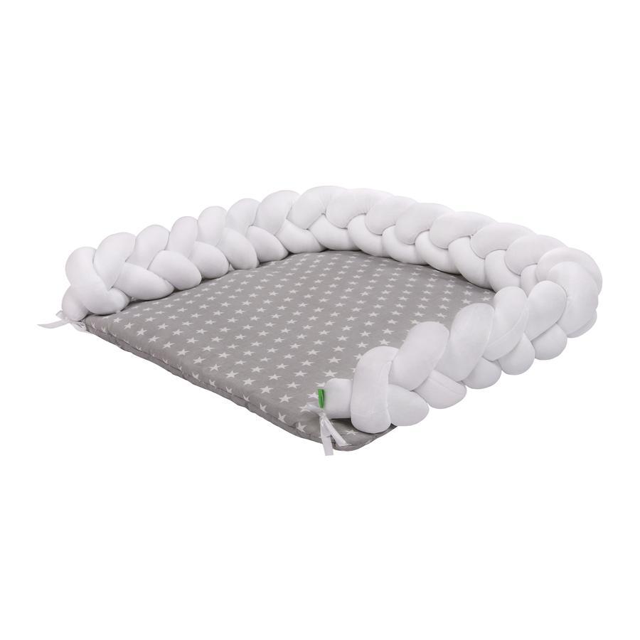 LULANDO Skiftematte Zopf hvit / stjernehvit 76x76 cm