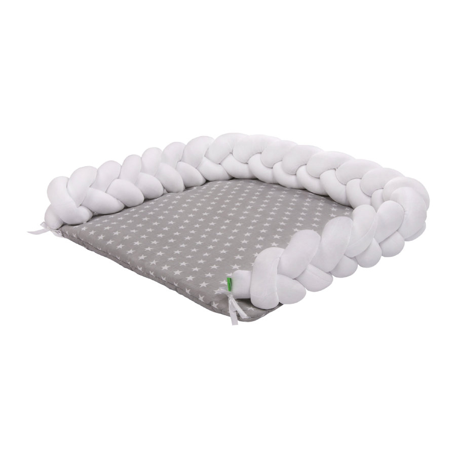 LULANDO Wickelauflage Zopf weiß/ Sternchen weiß 76x76 cm