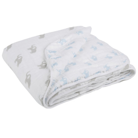 LÄSSIG Cozy Blanket XL Big Elephant Boys 120 x 120 cm