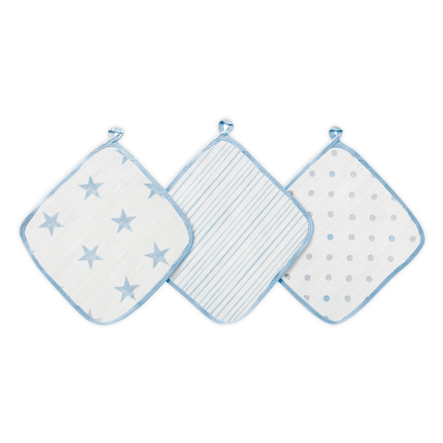 Aden by Aden+Anais® Gant toilette enfant dapper bleu lot de 3