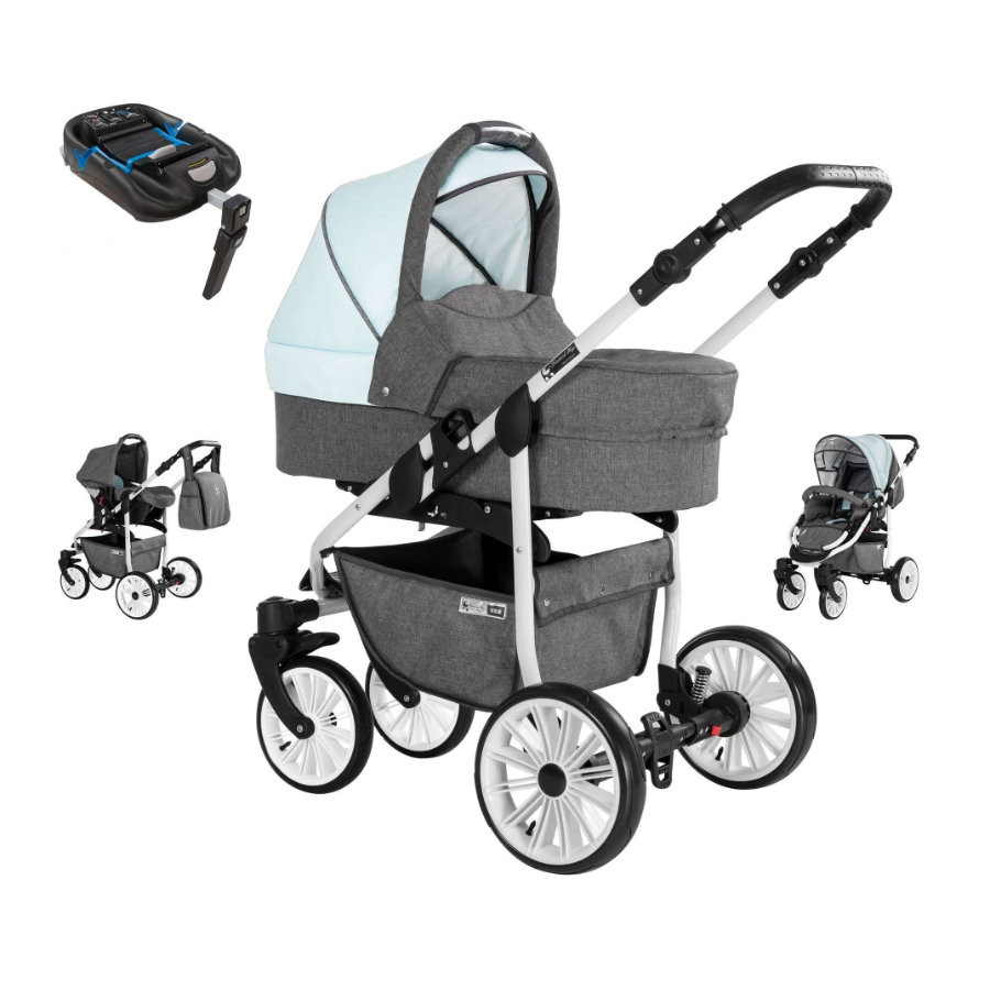 Friedrich Hugo Combi kinderwagen Berlin 4 in 1 met Isofix Set Grey and Light Blue Day/ grijs blauw