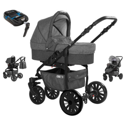 Friedrich Hugo Kombikinderwagen Berlin 4 in 1 mit Isofix Set mit Luftreifen - Dark Grey and Grey Night/grau