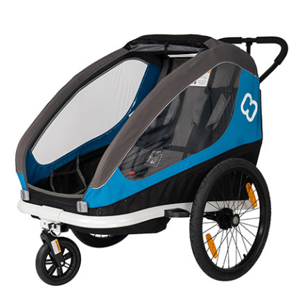 hamax Kinderfahrradanhänger Traveller inklusive Deichsel und Buggyrad Petrol Blue/Grey