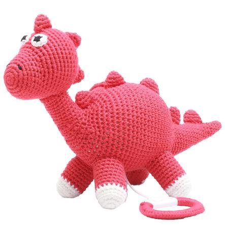 natureZoo of Denmark Peluche musicale à crochet dinosaure rouge