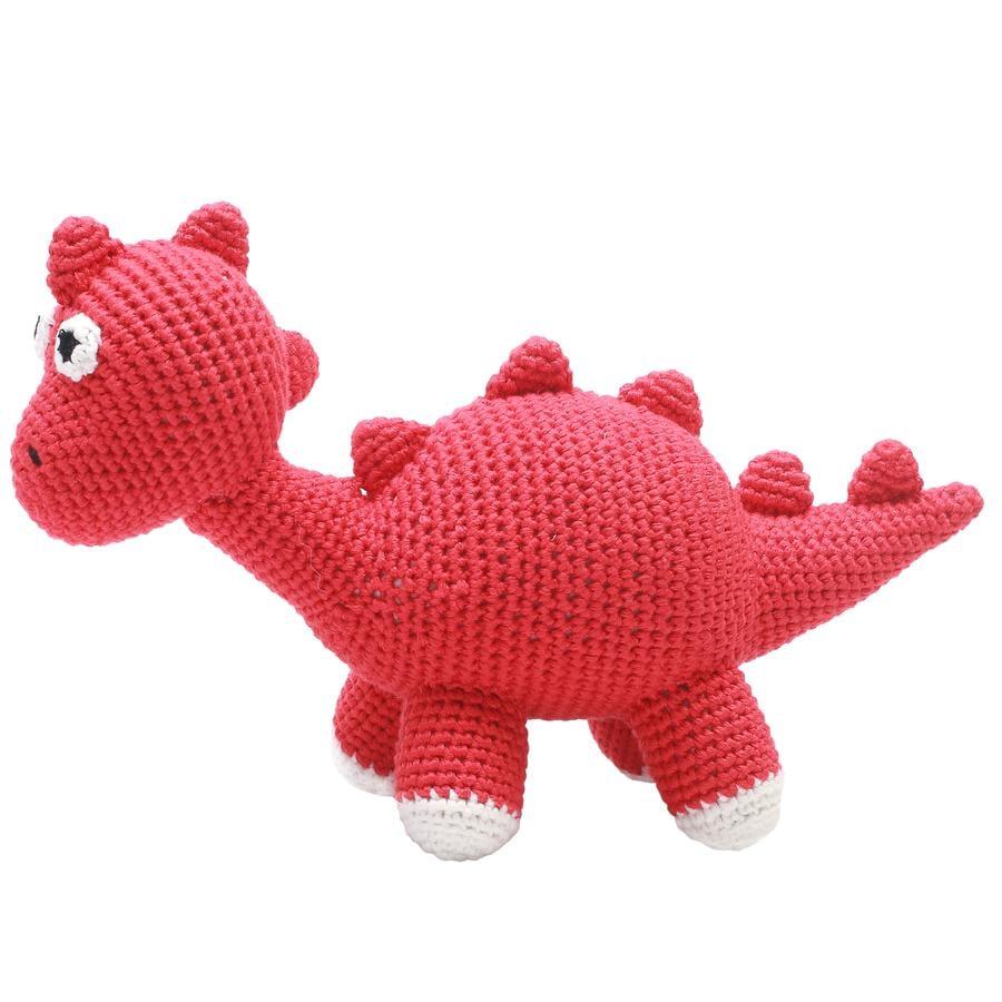 natureZoo of Denmark Peluche à crochet dinosaure rouge