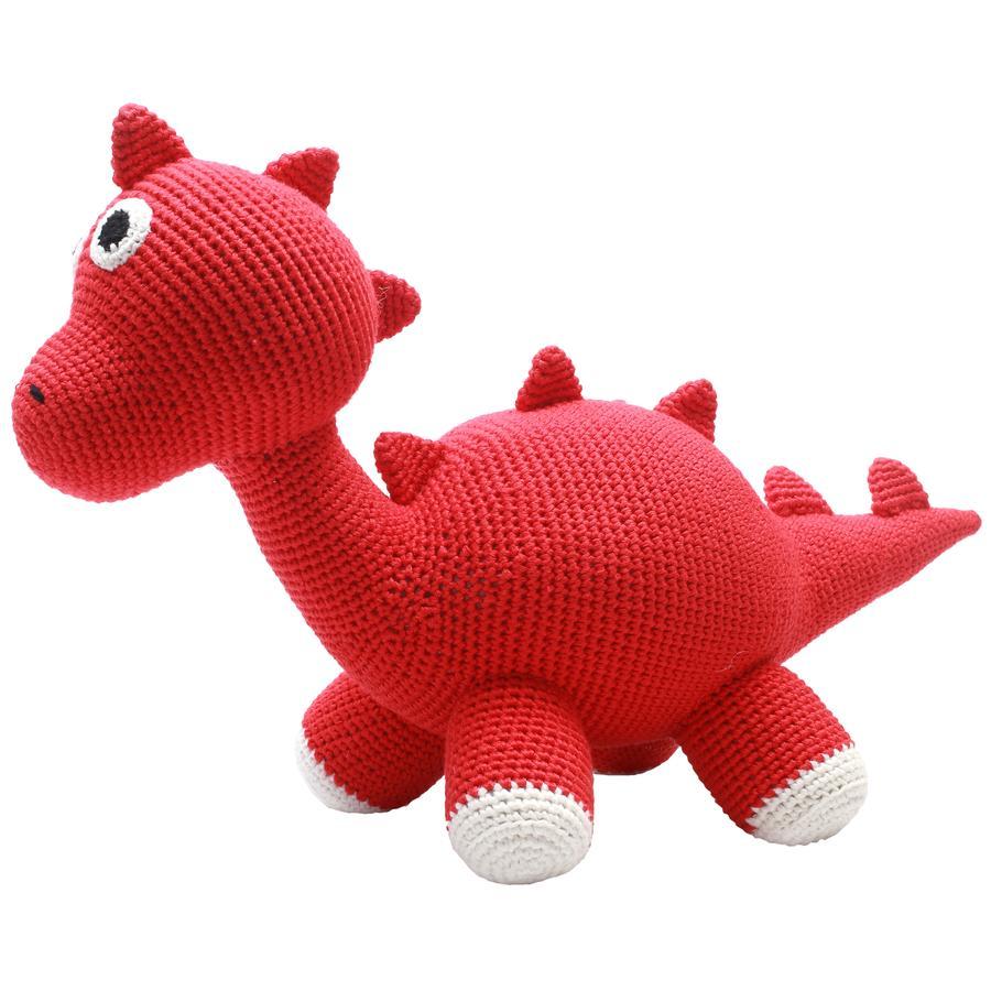 natureZoo of Denmark Peluche à crochet dinosaure XL rouge