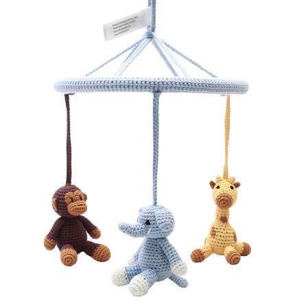 "nature Zoo of Denmark  ""gehaakte mobiele aap, giraffe & olifant, lichtblauw."""