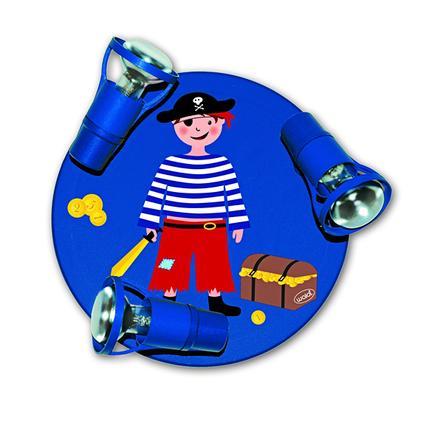 WALDI Taklampa Pirat, blå, 3 lampor
