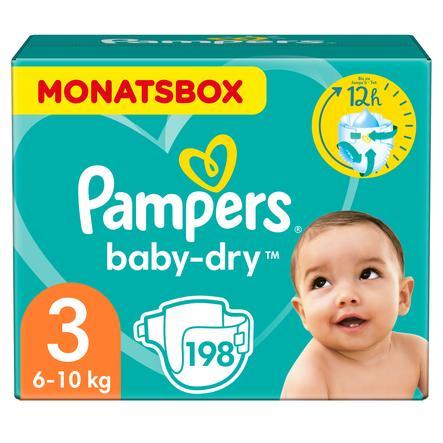PAMPERS Pannolini Baby-Dry Taglia 3 Midi (6-10 kg) - Confezione mensile da 198 Pezzi