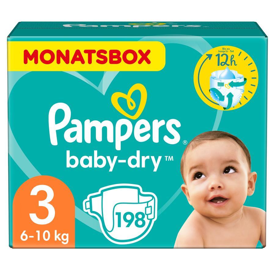 Pampers Windeln Baby Dry Gr. 3 Midi 198 Windeln 6 bis 10 kg Monatsbox