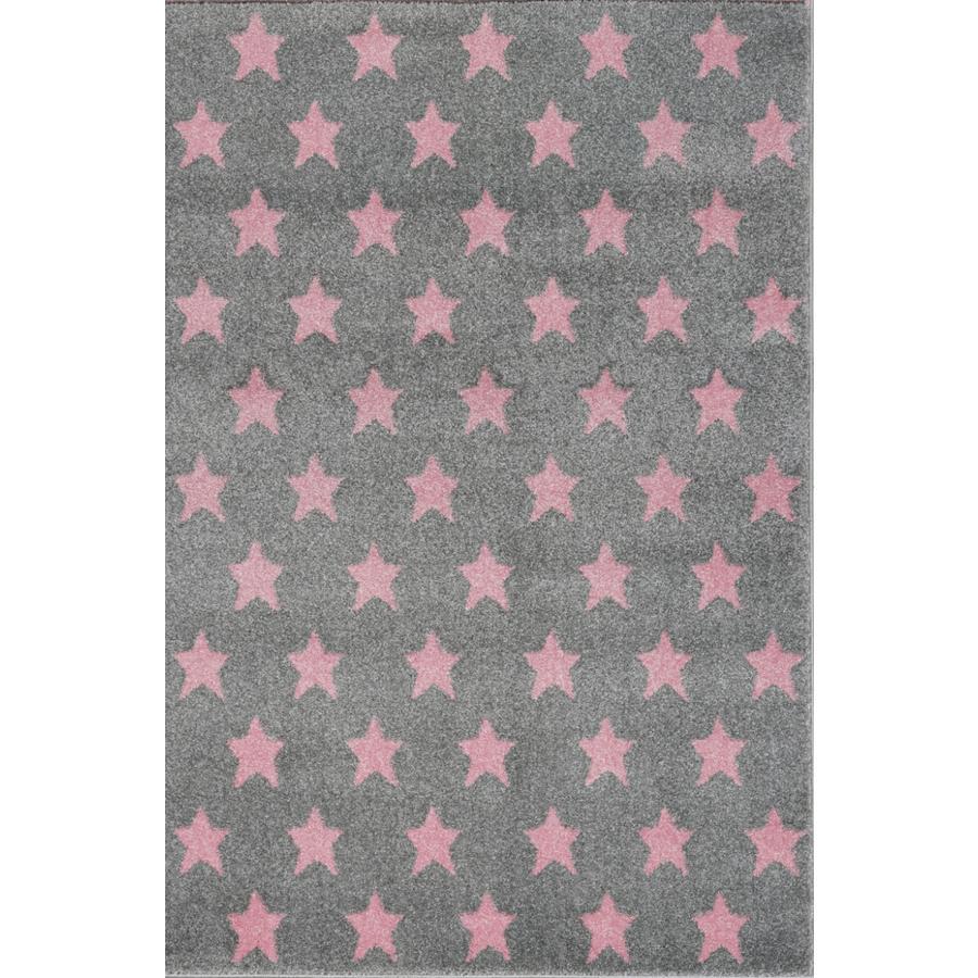 LIVONE Kids Love Rugs Dream star play a dětský koberec - stříbrná šedá / růžová 160 x 220 cm