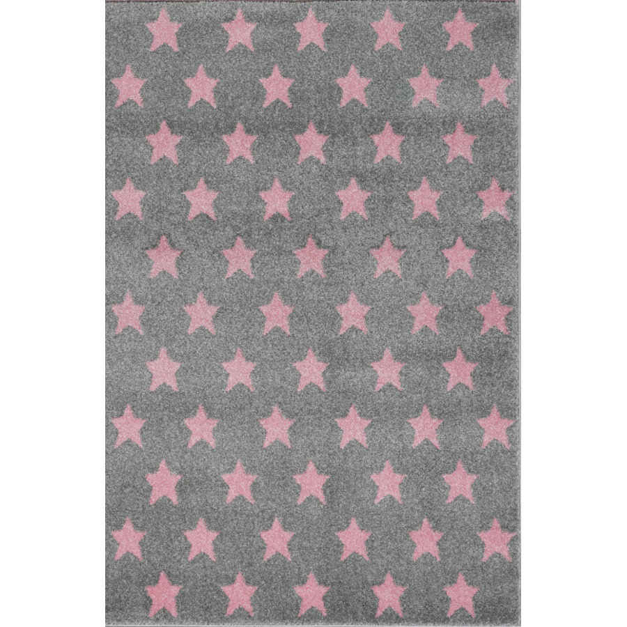 Tapis LIVONE Kids Love Rugs Dream star play and children's carpet - gris argent/rose 100 x 150 cm