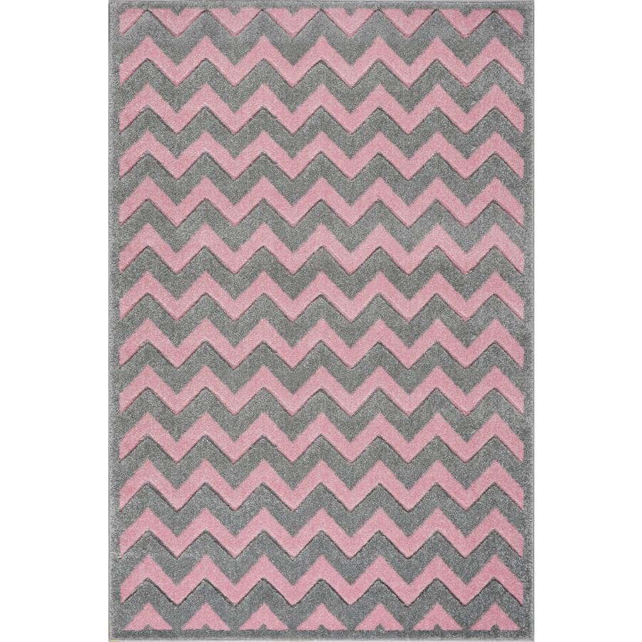LIVONE Kids Love Rugs Linus jeux de lin et tapis pour enfants - gris argent/rose 120 x 170 cm