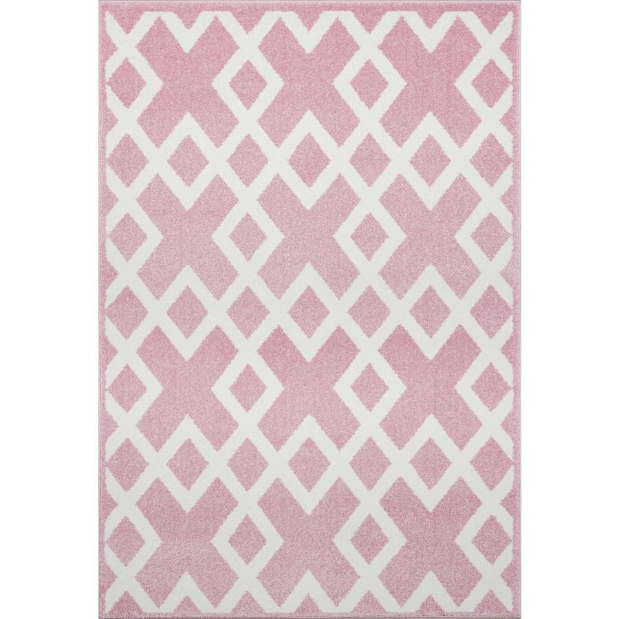 LIVONE Barnmatta Kids Love Rugs - rosa/vit 120 x 170 cm