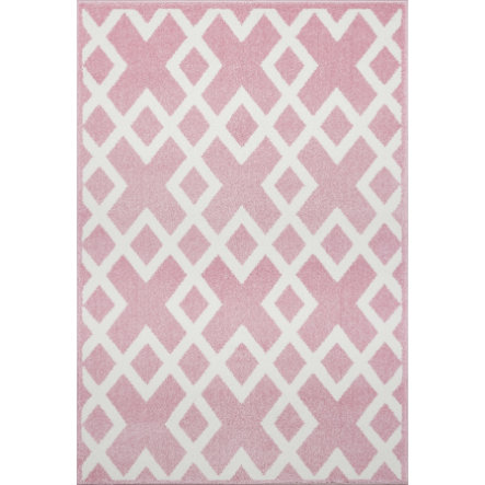LIVONE Barnmatta Kids Love Rugs - rosa/vit 100 x 150 cm