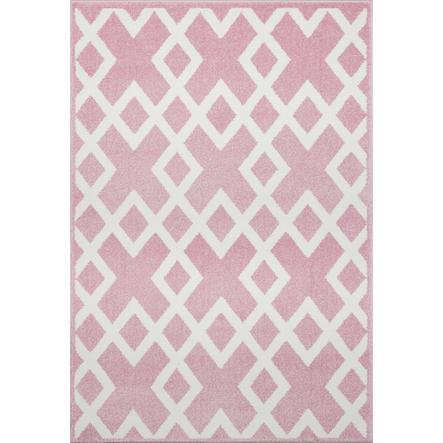 LIVONE Spiel- und Kinderteppich Kids Love Rugs Block - rosa/weiss 100 x 150 cm