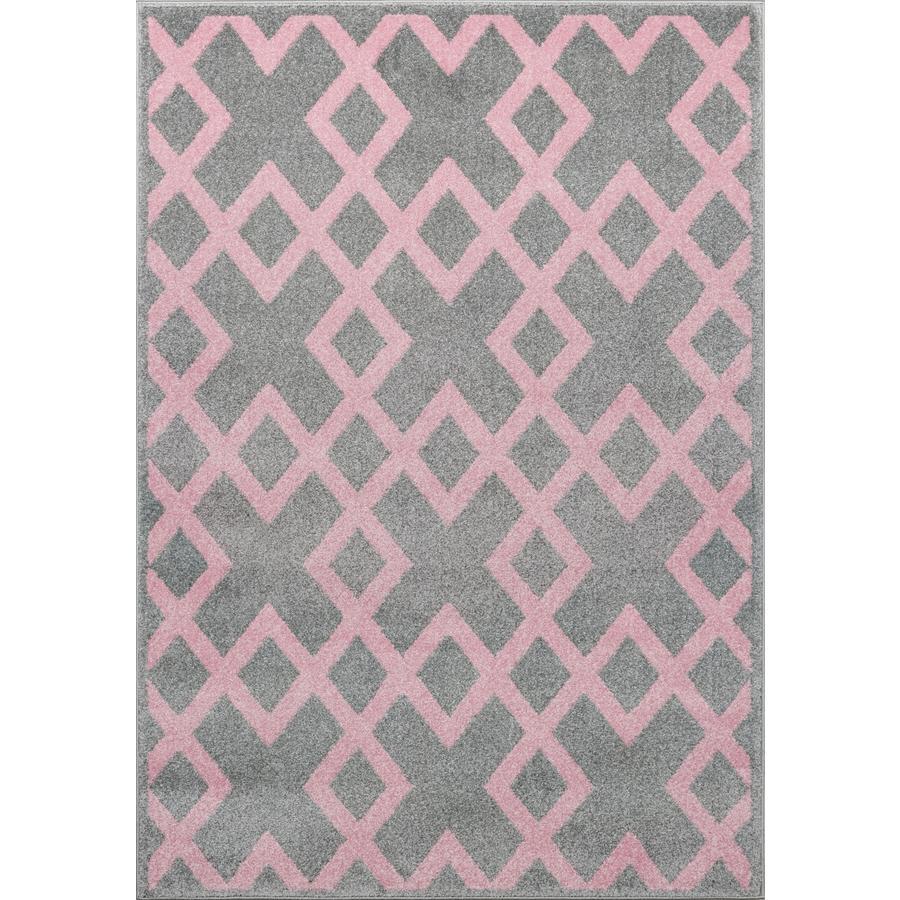 LIVONE Spiel- und Kinderteppich Kids Love Rugs Block - silbergrau/rosa, 100 x 150 cm