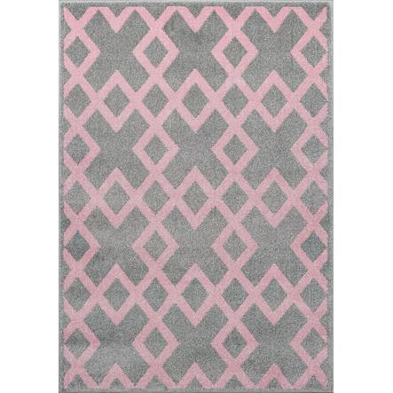LIVONE Kids Love Rugs lek og teppeblokk for barn - sølvgrå / rosa, 160 x 220 cm