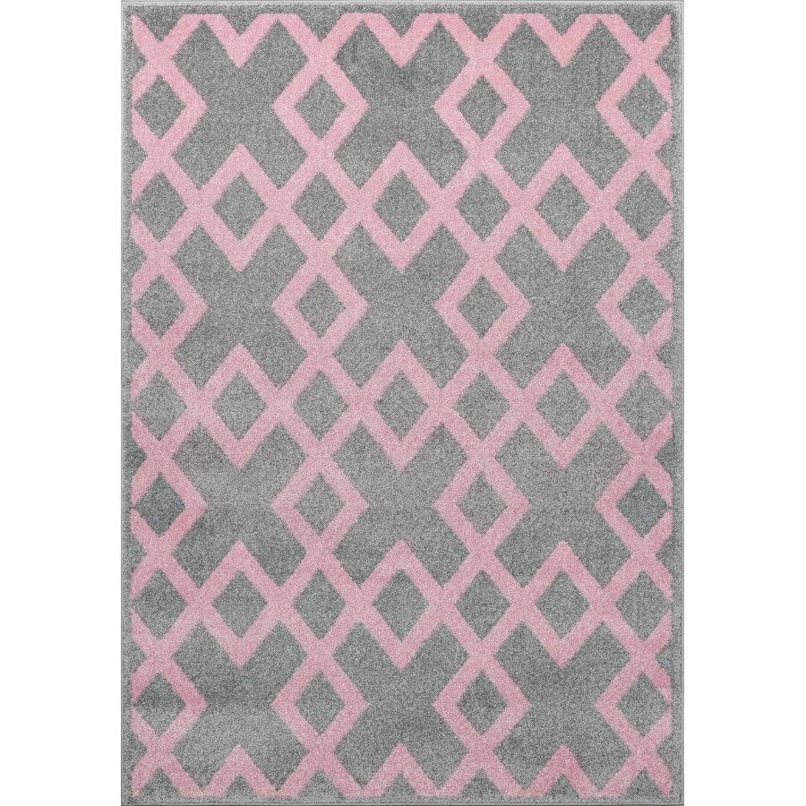 LIVONE Spiel- und Kinderteppich Kids Love Rugs Block - silbergrau/rosa, 160 x 220 cm