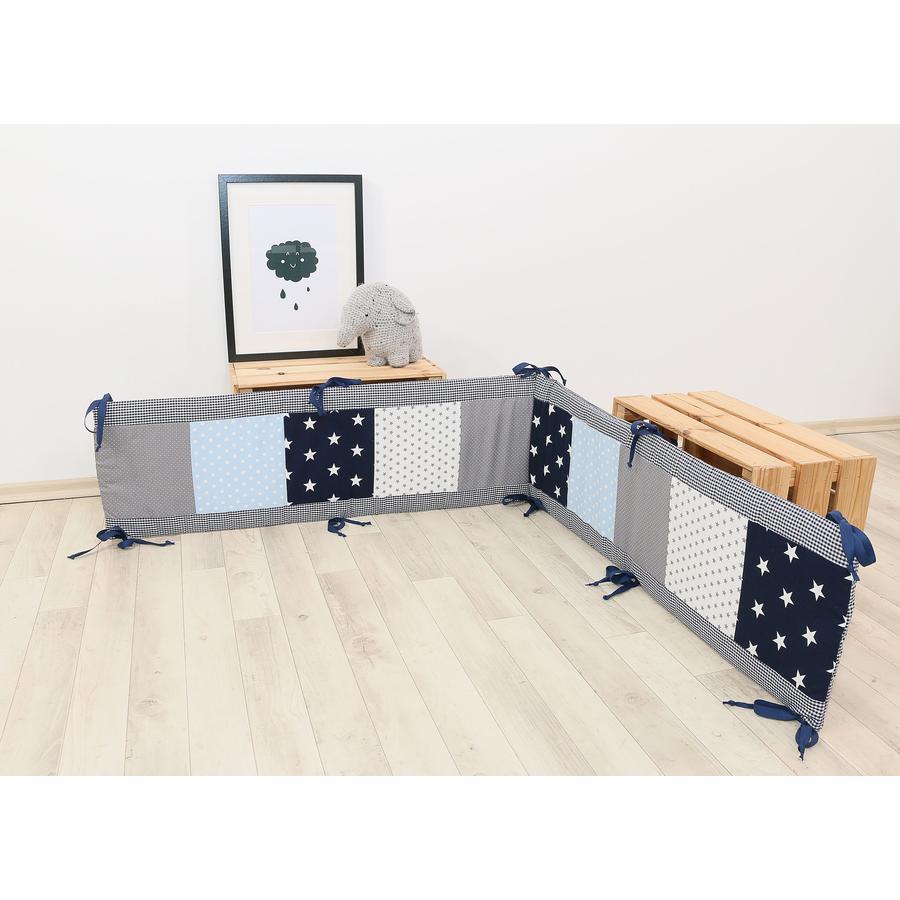 Ullenboom Patchwork -Playpen Reunapehmuste 100x100 cm sininen vaaleansininen harmaa (200 cm)